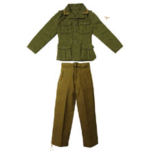 1:6 Scale German WWII DAK Afrika Korps NCO Tunic (Olive Green) and M40 Heer Tropical Trouser with Tropical Breast Eagle