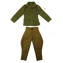 1:6 Scale German WWII DAK Afrika Korps NCO Tunic (Olive Green) and M40 Heer Tropical Breeches with Tropical Breast Eagle