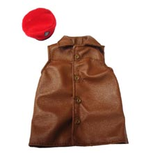 1:6 Scale British WWII Sleeveless Leather Jerkin and SAS Beret with Patch