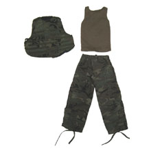 1:6 Scale U.S. BDU Woodland Body Armour + Brown T-Shirt + Woodland Trouser