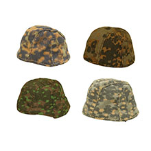 1:6 Scale German WWII Helmet Cover Assorted 4 Camo Collection #1