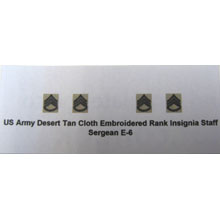 US Army Desert Tan Cloth Embroidered Rank Insignia Staff Sergean E-6