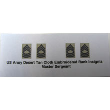 US Army Desert Tan Cloth Embroidered Rank Insignia Master Sergeant